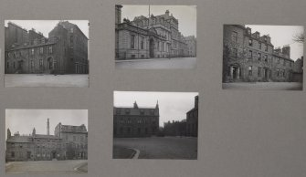 Card folder containing photographs of George Square. Front cover has pencil notes describing the photographs inside. Edinburgh Photographic Society Survey of Edinburgh District, Ward XIV George Square.