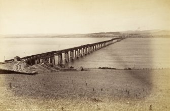 View of the Tay Bridge looking towards Dundee.  Titled: 'New Tay Viaduct from S. 7406. J.V'.