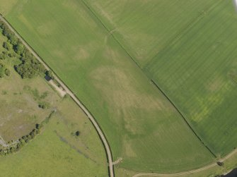 Oblique aerial view of the parchmarks of the round house at Holms, taken from the WNW.