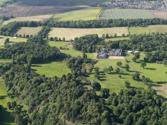 General oblique aerial view of Dundas Castle country house and policies, taken from the S.