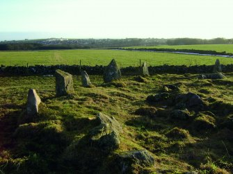 Graded orthostats on the E viewed from the NE, Aquhorthies recumbent stone circle.