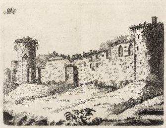 Engraving of Bothwell Castle from the south with the letters ADC at top left. Titled 'Bothwell.'