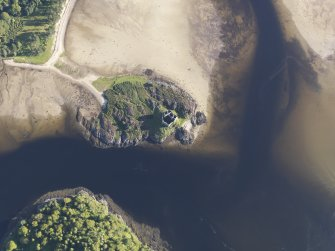 Oblique aerial view of Castle Tioram, looking SSE.