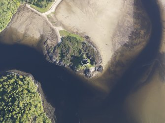Oblique aerial view of Castle Tioram, looking SE.