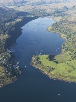 General oblique aerial view of Loch Aline with Kinlochaline Castle and Ardtornish Tower in the distance, looking NNE.