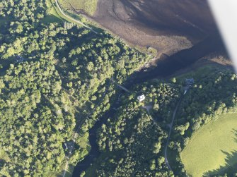 Oblique aerial view of Kinlochaline Castle and The Ivy Bridge, looking SE.