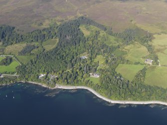 General oblique aerial view of Armadale Castle, looking NW.