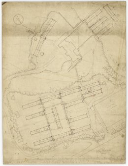Layout and block plan, showing location of wards, x-ray and operating theatre, domestic and nurses accommodation, mortuary, original house and gate lodge.