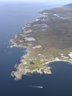 General oblique aerial view of Rubh'an t-Sailean and the NW coast of Jura, taken from the SW.