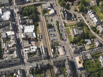 Oblique aerial view of the railway station taken from the SE.