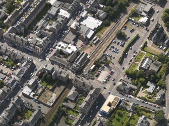 Oblique aerial view of the railway station taken from the E.