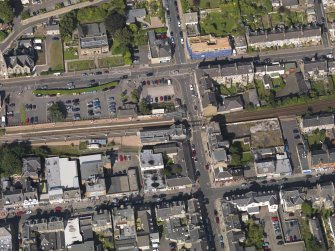 Oblique aerial view of the railway station taken from the SSW.