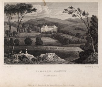 Engraving of Fingask Castle in its landscape. Titled: 'Fingask Castle, Perthshire. Jones & Co. Temple of the Muses, Finsbury Square, London. Drawn by H. Gastineau. Engraved by J. Greig.'
