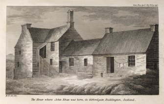Engraving of John Knox's birthplace showing L-shaped 2-storey house & 2 adjoining cottages. Titled 'The house where John Knox was born, in Giffordgate, Haddington, Scotland. M.R. del. 1810. Gent. Mag. April 1817. Pl.I, P.297.'
