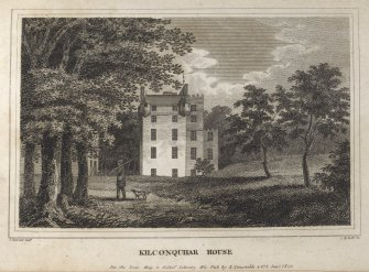 Engraving of Kilconquhar House in its grounds. Titled 'Kilconquhar House, for the Scots Mag. & Edinr. Literary Mis. Pub. by A. Constable & Co. 1 Jany. 1812. J. Burnet Delt. R. Scott. Sc.'