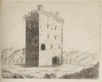 "Engraving of Closeburn Castle. Titled 'Killosborn Castle. In Nithsdale, situated on the east side of a loch, or lake, about twelve miles to the northward of Dumfries. The stile of building is much unlike any of the other border towers, as the habitable part of the building was entered by a ladder from without, which was drawn up. The lower vaults are very strongly arched, and have a small trap in one which communicated with the great hall above; the upper and under doors have many iron grates, and are ornamented with zigzag figures similar to what are found in the Saxon architecture. This was the residence of Donegal Lord of Strathnith, in the reign of King Edgar, Alexander I and David I. In the reign of Alexander II Ivon de Kirkpatrick, of |Killosborn, obtained a charter of confirmation of these lands. Roger, a successor of Ivon, was among the first who stood forward in the cause of Robert Bruce, and was with him when he slew John Cummyng at Dumfries; for his service there, he obtained the crest of the hand and dagger, and the motto of I'll mak sicker, the words he used in stabbing Cummying. This estate is now the property of the Rev. Stewart Monteith. 1788. [Adam de Cardonnell ""Picturesque Antiquities of Scotland"" 1788.]"