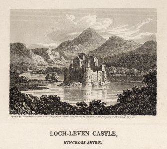 Engraving of Lochleven Castle & island showing four centre towers & surrounding walls. Titled 'Engraved by J. Storer for the Antiquarian & Topographical Cabinet from a picture by Ibbotson in the possession of Mr. Thomas Carpenter. Loch-Leven Castle, Kinross-shire. The Castle of Loch-leven stands towards the north-west part of the lake, on an island about an acre and three quarters in extent, and is encompassed with a rampart of stone, nearly of a quadrangle form. The principal tower, a kind of square building, stands upon the north wall, very near the north-west corner, and there is a lesser round one at the south-east. The other appartments were arranged along the noth wall, between the tower and the north-east corner. A kitchen, suppose to have been built later than the rest of the Castle, stood on the west wall near the south-west corner; and another building supposed to have been the chapel, between that and the great tower fronting the south. In the lower part of the square tower is a dungeon, with a well in it. Above the dungeon is a vaulted room, which, from the appearance of the effects of smoke on the jambs of the chimney, seems to have been used as a kitchen. No date or inscription appears on any part of the buildings, excepting only the letters R.D. and M.E. probably the initials of Sir Robert Douglass and Margaret Erskine, his wife. The whole circuit of the rampart is 585 feet. It is generally understood that the roof was taken off the Castle about a century ago; some part of which, particularly that of the round tower, is said to have been repaired by Sir William Bruce. In this place the unfortunate Mary, Queen of Scots was kept a close prisoner, and suffered from the 16th June 1567 to the 2nd May 1568, all the rigour and miseries of captivity.'