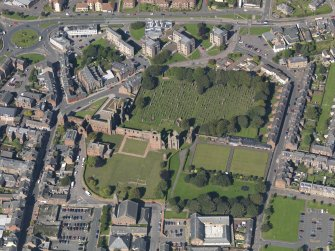 Oblique aerial view of Arbroath Abbey, taken from the NW.