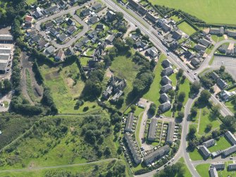 Oblique aerial view of The Elms in Arbroath, taken from the NNW.