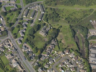 Oblique aerial view of The Elms in Arbroath, taken from the SE.
