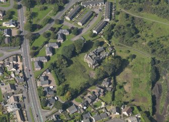 Oblique aerial view of The Elms in Arbroath, taken from the E.