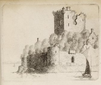 "Engraving of Lochore Castle from the west. Titled 'Lochore Castle. This Castle is built on a peninsula, on the south side of the loch of Lochore, in the shire of Kinrose, and was erected by Duncan de Lochor, in the reign of Malcolm IV anno 1160: it consisted of a strong square tower, with many lower buildings, surrounded with a wall, having round towers at the corners; the wall on three sides are washed by the water of the loch or lake, which formerly abounded with pike and perch. In the reign of Alexander II. Adam de Lochor was Sheriff of Perth; David de Lochor is in 1255 also Sheriff; in 1289 Hugo de Lochor is Vicompt de Fife, as is Constantinus in 1292; David de Lochor is named in Ragman's Roll in 1296. In 1315 Thomas de Lochor was in the Parliament at Air that tailzed the Crown, and his seal is appended to that act. In the reign of King Robert Bruce the estate came by marriage to Adam de Valloniis, and from them again by marriage to Sir Andrew Wardlaw. Over the door in the tower is inscribed ""Robertus de Wardlaw"" who greatly fortified and repaired it. This view is from the west.' [Adam de Cardonnell, ""Picturesque Antiquities of Scotland,"" 1788.]"