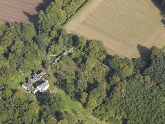 General oblique aerial view of Kintrockat House estate, centred on Kintrockat House, taken from the SW.