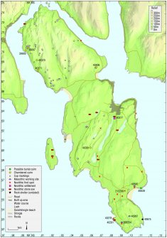 Map - Distribution of Mesolithic and Neolithic sites and artefacts.