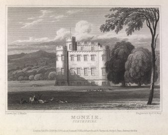 Monzie Castle engraving showing view from lawns. Titled 'Monzie, Perthshire. London, pub. Nov.1, 1822 by J.P.Neale, 16 Bennett St., Blackfriars Road & Sherwood, Neely & Jones, Paternoster Row. Drawn by J.P.Neale. Engraved by F.R.Hay.'