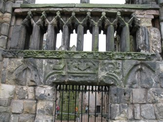 View of arms of Abbot Crawford, on exterior of Holyrood Abbey.