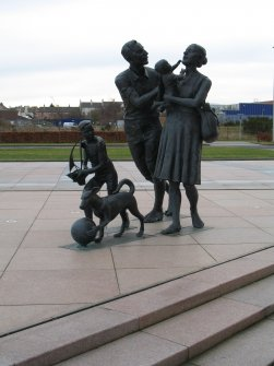 View of sculpture 'Going to the Beach', on Waterfront Avenue.