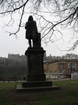 View of statue of John Wilson from N.