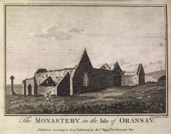 Engraving of front facade of a church in foreground with Ochtertyre House on high ground above. Insc.:'Ochtertyre, Perthshire.'