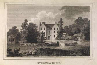 Engraving of Drummonie House, (Pitkeathly House)  front view of house & garden. Titled 'Pitkeathly House. For the Scots Mag.  Edinr. Literary Miscy. Pub. by A. Constable & Co. 1 May 1812. R. Scott Sc.'