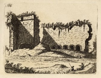 "Engraving of Roslin Castle, interior view of part of north wall. Titled 'ADC. Roslin Plate II. At what period this Castle was built is not certainly known;  but we find that, about the year 1100, William de Sancto Claro, son of Waldernus Compte de St. Clare, who came to England with William the Conqueror, obtained from King Malcolm Canmore a grant of the lands and barony of Roslin. Sir William Sinclair, the 8th of the name, was the favourite of the brave Sir James Douglas, and accompanied him on his journey to Jerusalem with the heart of King Robert Bruce. They fell together fighting against the Saracens in Spain, anno 1330. This estate is now in the possession of Colonel Sinclair ofSinclair. The above Plate gives an inside View of part of the north wall of the Castle.' [Adam de Cardonnel, ""Picturesque Antiquities of Scotland,"" 1788.]"