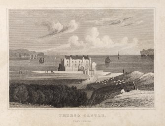 Engraving of Thurso Castle from shore.  Titled: 'Thurso Castle, Caithness. '