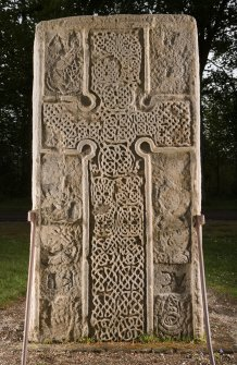 View of face of the Rodney's Stone cross slab (flash)