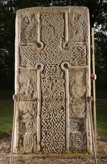 View of front of the Rodney Stone, Pictish cross slab (flash, with scale)