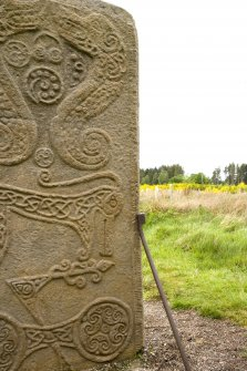 Detail of ogham inscription on right hand side of rear face of the Rodney Stone (daylight)