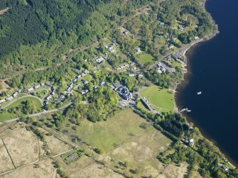 General oblique aerial view of Tarbet village, taken from the SW.