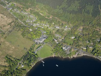 General oblique aerial view of Tarbet village, taken from the SE.