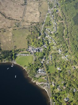 General oblique aerial view of Tarbet village, taken from the E.