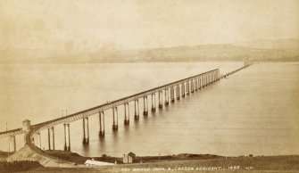 Tay Bridge from S, (after accident) 1865, J.V. PHOTOGRAPH ALBUM No.67: Dundee Valentine Album.