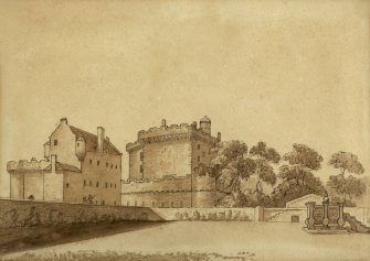 Drawing of 17th century house, since demolished, as seen from North. Very similar to an earlier David Allan drawing.