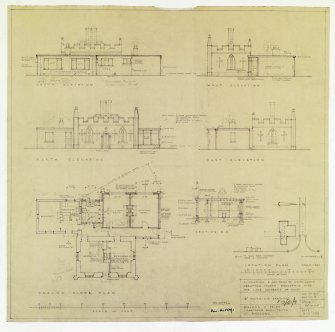 "North Lodge: Alterations (not carried out): Location plan 1/500: elevations, section, plan 1"":8' Working drg. delt. Walker & Pride, Architects, St Andrews. 1956."