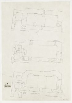 Plans of ground, first and second floors, Dundonald Castle.