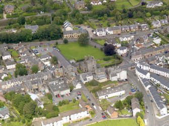 Oblique aerial view of Maybole Castle, taken from the SSE.