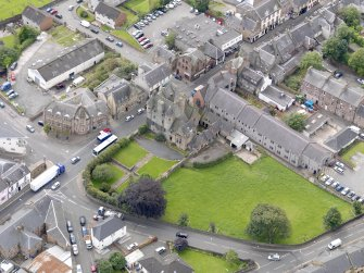 Oblique aerial view of Maybole Castle, taken from the N.