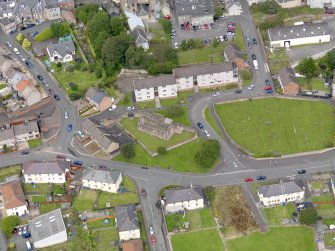 Oblique aerial view of Maybole, centred on St Mary's Church, taken from the SSE.