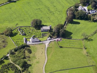 Oblique aerial view of Buittle Parish Church, taken from the ESE.